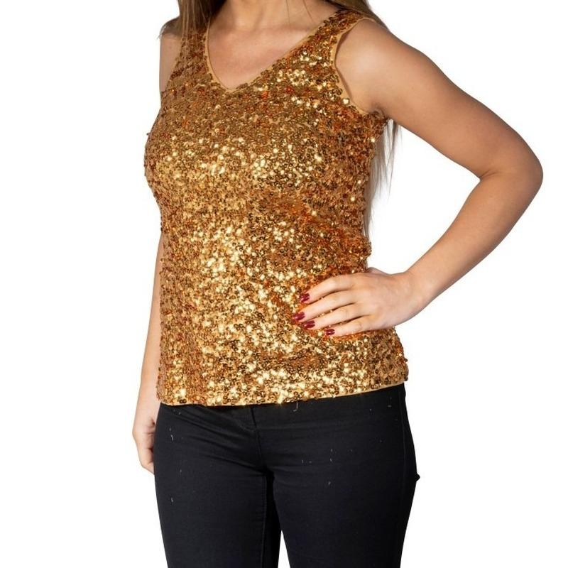 75e3e7848e6 Gouden glitter pailletten disco topje/ mouwloos shirt dames (19.95 ...